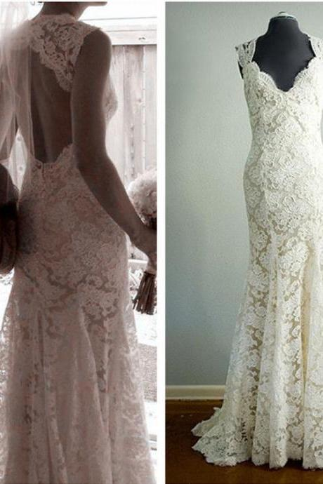 Sleeveless V-Neck Lace Mermaid Wedding Dress Featuring Open Back and Train