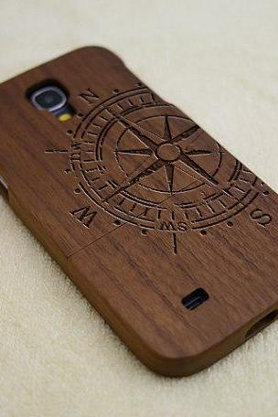 Wood Samsung Galaxy S4 case, Compass Galaxy S4 case, Wood phone case, natural wood case, Compass, laser engraving, real wood, Walnut