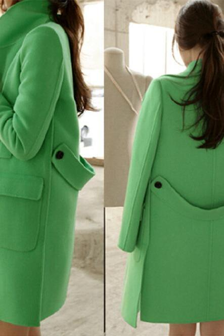 Green Woolen Pea Coat Women Winter Wool Jacket Elegant Blazer Design Ladies Overcoat Outerwear Clothing