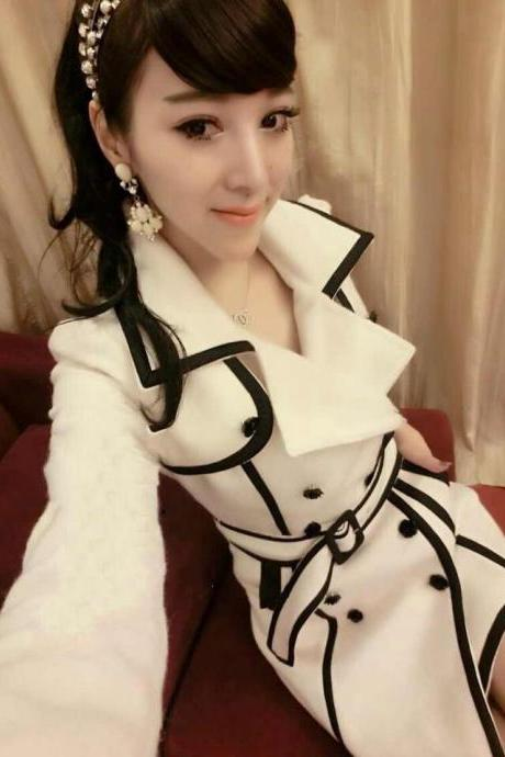 White And Black Winter Wool Coat Jacket Slim Fit Trench Coat Women Clothing