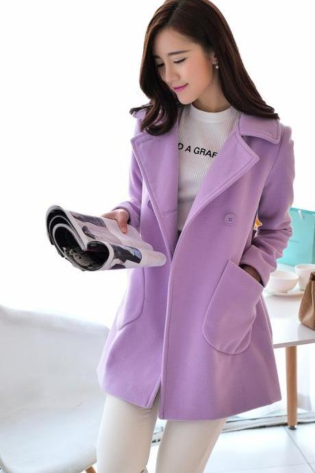 Turn Down Collar Wool Coat Winter Woolen Jacket Overcoat For Women