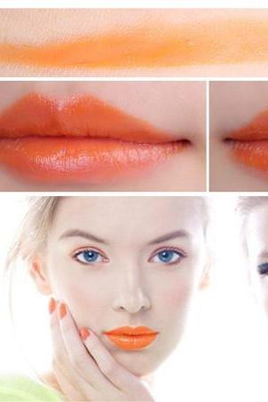 Sale Orange Waterproof Daily Candy Sweet Color Lipstick Long Lasting Matte Smooth Moisturized Glitter Honey lipstick Cosmetic Lip Gloss Sweet Girl Makeup Lipstick Gift for Her