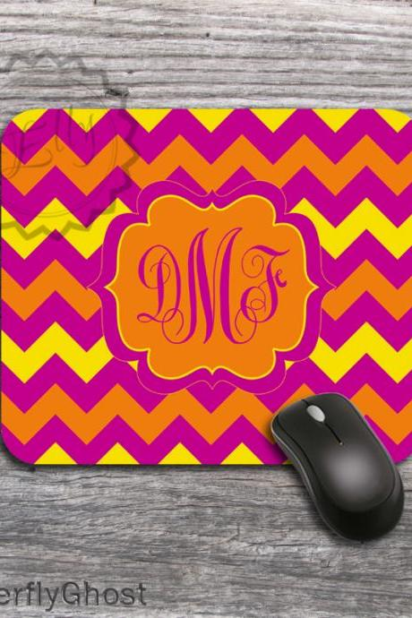 Hot Hot Computer Mouse Pad - Chevron Hot Colors, monogrammed padding, personalized mat