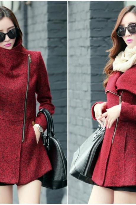 Wine Red Woolen Coat