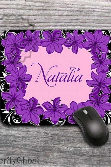 Purple Flowers Customized Computer Mousepad - Lovely pattern mat, name or monogram personalized padding