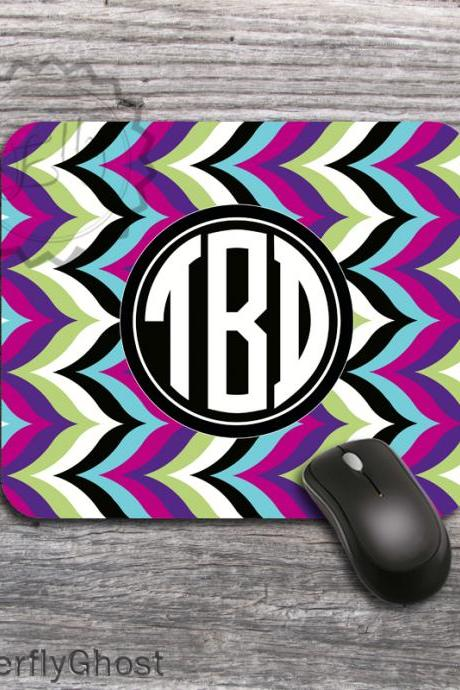 Computer Chic Mouse Pad - Vertical chevron Mousepad, personalized name or monogram mat