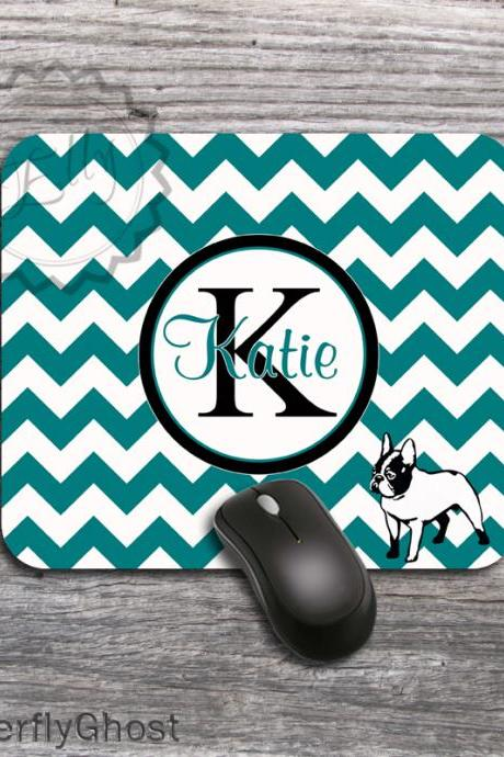 Dog Chevron Mousepad - Monogrammed Computer padding, personalized teal color desk accessory