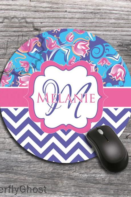Tulips and Chevron Computer Mat - Custom Mousepad, Personalized office desk accessory gift