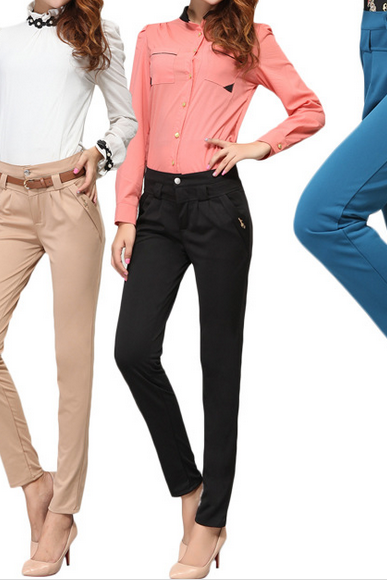 2014 Haren pants female waist slim slim Haren casual pants