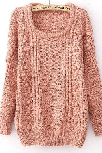Thick Loose Knitted Wool Sweater - Pink