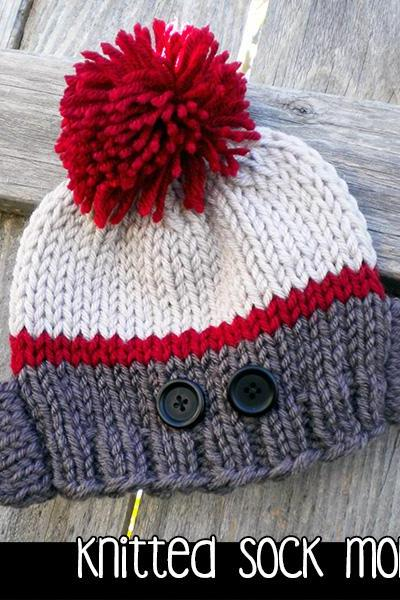 Knitted Sock Monkey Hat for the Family Knitting Pattern