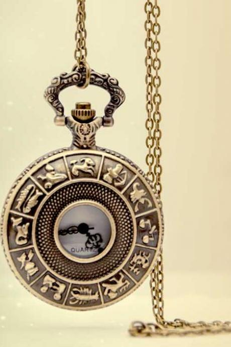 Constellation Pocket Watch Necklace,The Signs of the Zodiac necklace