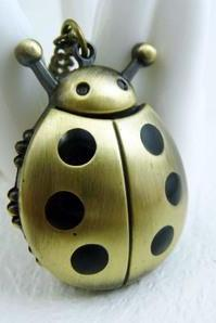 Beetle pocket watch necklace