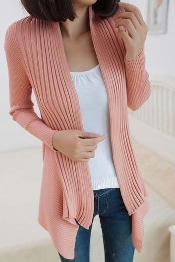 Fashion Essential Long Sleeve Cardigans for Woman - Pink