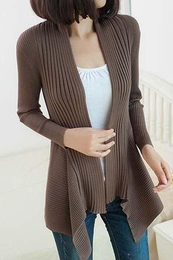 Fashion Essential Long Sleeve Cardigans for Woman - Coffee