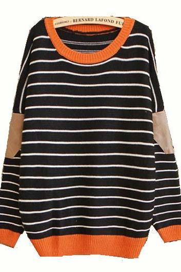 High Quality Long Sleeve Round Neck Striped Sweater - Black