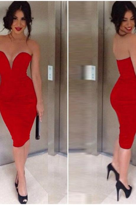 Sexy Red Knee Length Body con Dress