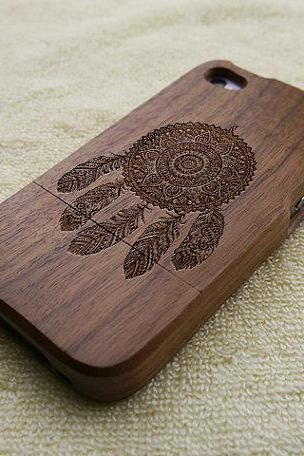 Wood iPhone 4S case, iPhone 4 case, wood iPhone 4 case, dream catcher iPhone 4S case, tribal iPhone 4 case, wooden iPhone case