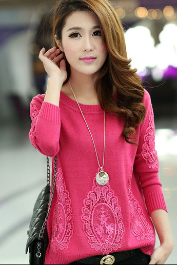 Lace knitting sweater