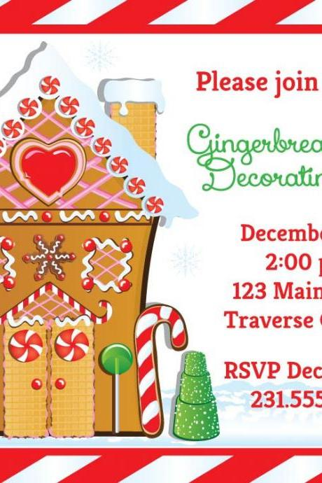 Gingerbread House Invitation • Christmas Decorating Party