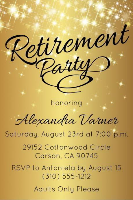 Retirement Party Invitation - Gold Sparkly Retirement - Printable