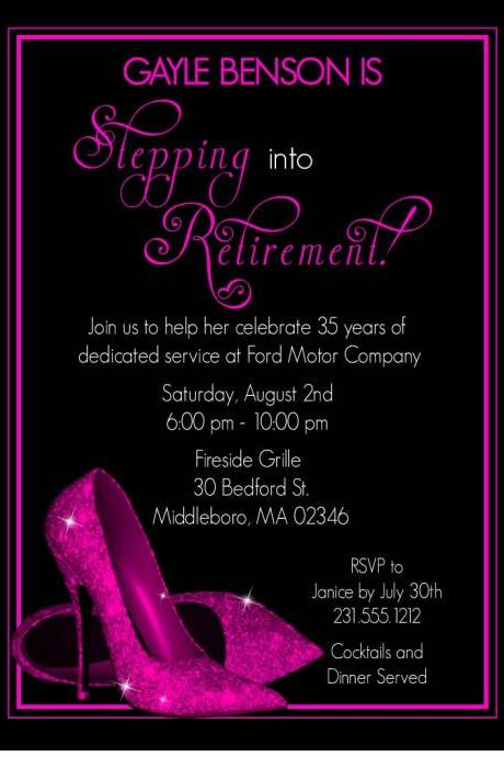 Pink Glitter Shoes Retirement Party Invitation