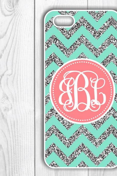 Personalized Mint Glitter Chevron Custom Case - Monogrammed Iphone case- Samsung Galaxy case