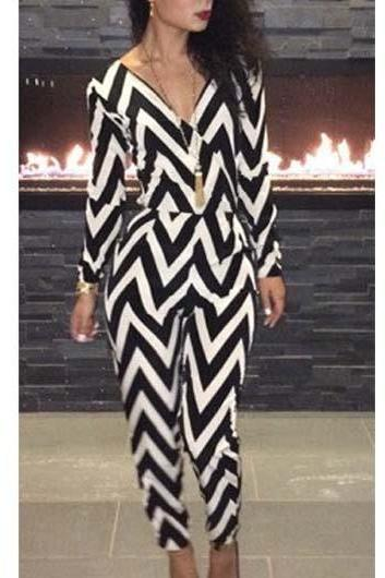Long Sleeve Chevron Print Jumpsuit