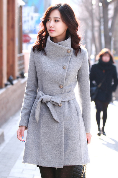 Cheap Mandarin Collar Long Sleeves Single-breasted Grey Long Wool Coat