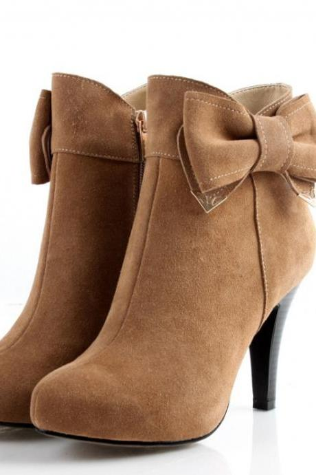Pointed-Toe Leather Stiletto Ankle Boots with Bow Accent
