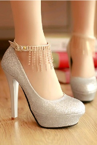 Sexy Sassels Rhinestone With Buckle Waterproof Thin High Heels Women's Shoes