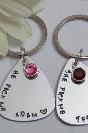 His and Her Pick me Keychains - couples gifts