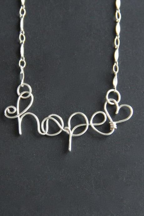 Hope Necklace Wire Word
