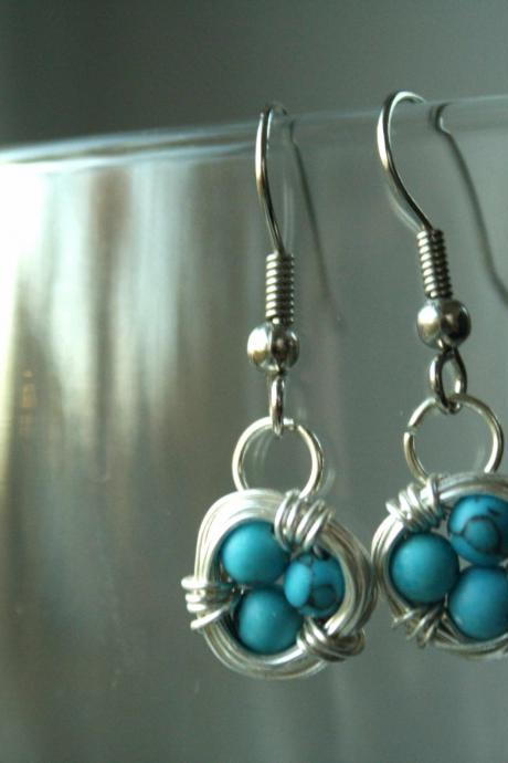Blue Bird Nest Earrings Wire Wrapped