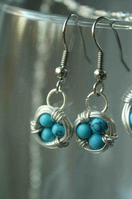 Blue Bird Nest Earrings And Necklace Set Wire Wrapped