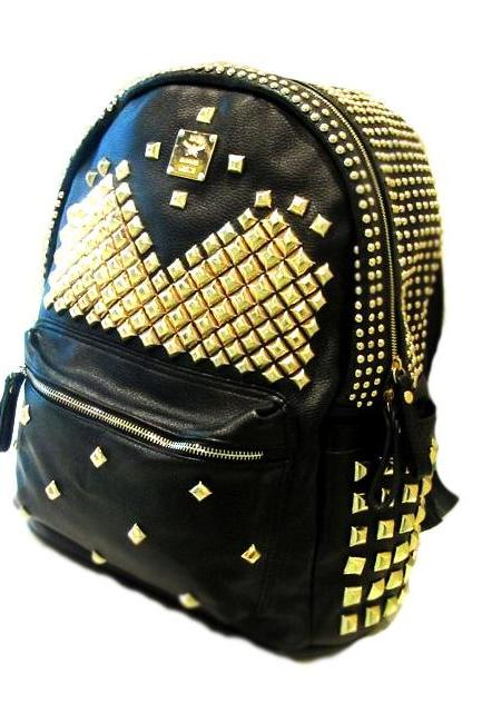 Cool Punk Style Rivet Pure Backpack - Black