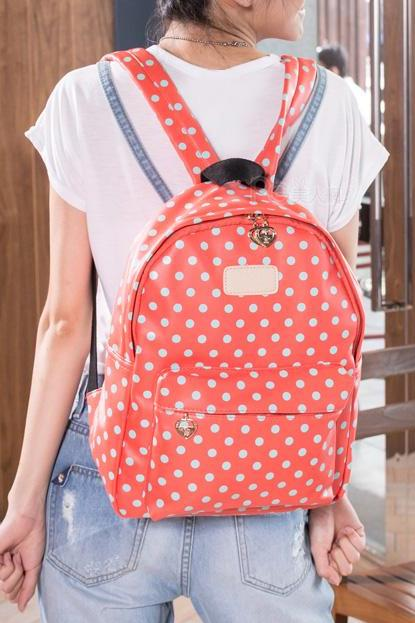 Cute Dot Watermelon Backpack - Watermelon Red