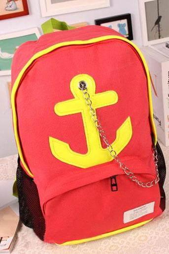 Leisure Candy Color Anchor Print Chain Backpack - Red