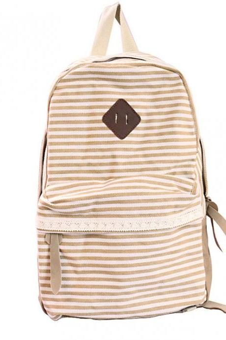 Retro Strip Print Lace Canvas Backpack - Yellow