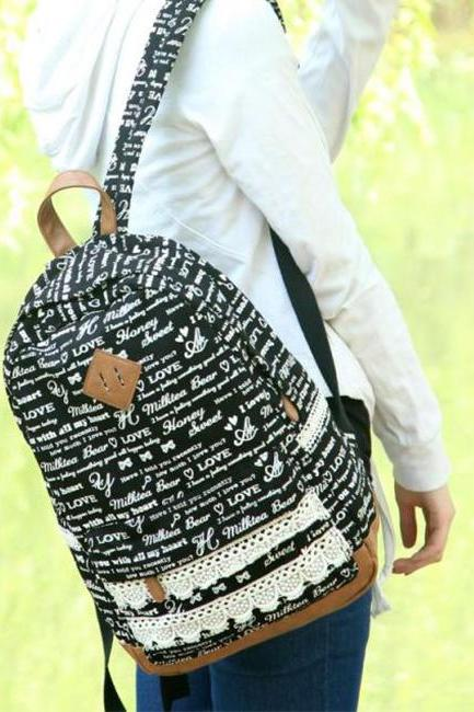 Sexy Letters Pig Nose Lace Canvas Backpack - Black