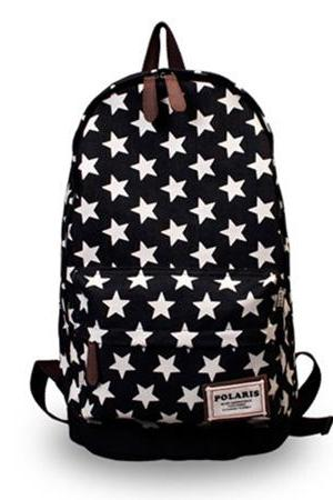 Sweet European Style Star Print Denim Backpack - Black