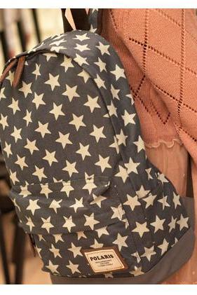Sweet European Style Star Print Denim Backpack - Gray