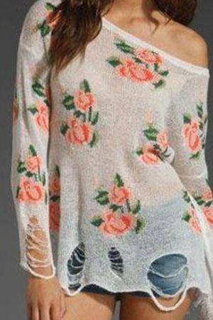 Unique Style Rose Print Frayed Knitwear