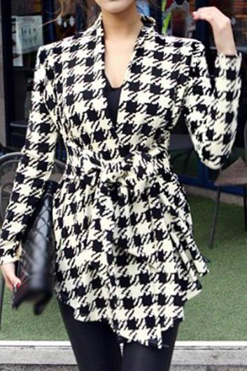 Black And White Plaid Winter Coat