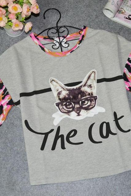 Cat Printed T -shirts AD813DB