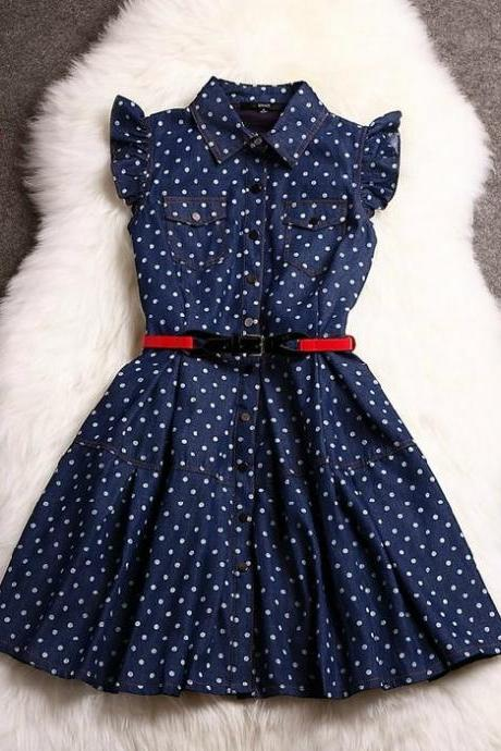 Belted Polka Dot Denim Dress with Ruffled Sleeves and Breast Pockets