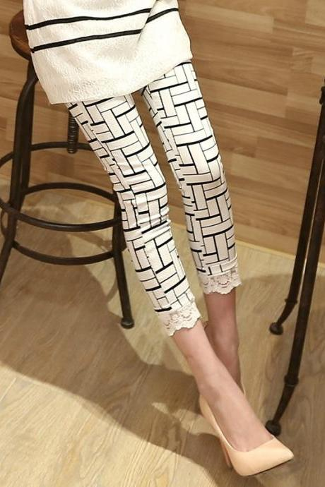 Fashion Lace Plaid Pants