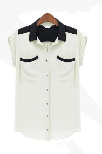 Pocket Short-sleeved Chiffon Shirt Pocket MDe