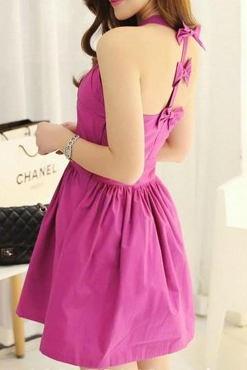 Purple Backless Bow Dress AECABI