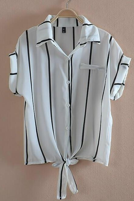 Striped Shirt Chiffon Shirt HT625BJ